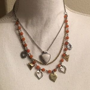 LUCKY BRAND STONE AND HEART NECKLACE